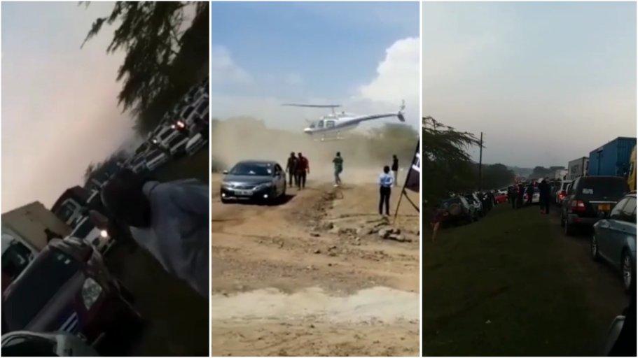 Kenyan man causes stir after ordering chopper to beat heavy traffic in Naivasha