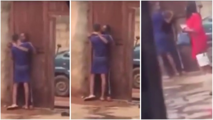 mother caught her daughter making out with a man in their compound