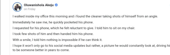 Boss 'catches' cleaner taking selfies in his office, asks him to sit in his chair to teach worker lesson