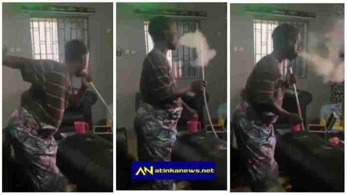 Old woman spotted smoking shisha