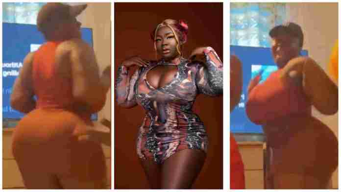 Maame Serwaa gives full '360' of her huge backside as she dances to Ed Sheeran's 'Shape of you' [Video]