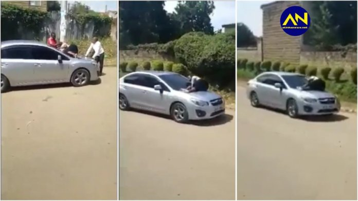 Slay queen jumps on her sugar daddy's moving car after dumping her
