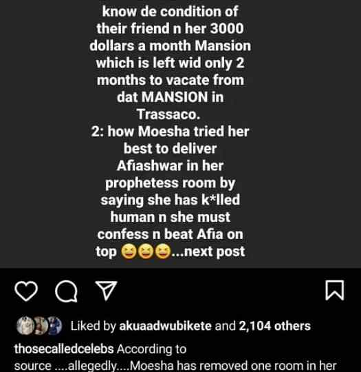 Moesha Boduong allegedly beats and accuses Afia Schwar of killing during deliverance