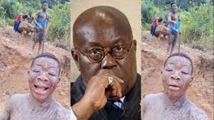 """""""Since teaching does not make rich, we ain't gonna stop galamsey"""" – Young boys to Akufo-Addo [Video]"""