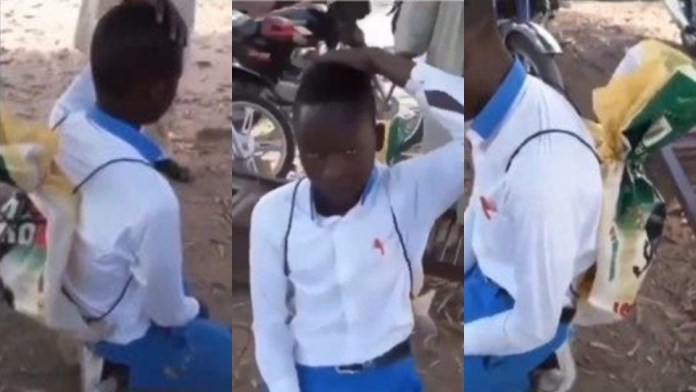 Sad as student is being mocked by his teachers because he used rice sack as school bag [Watch]