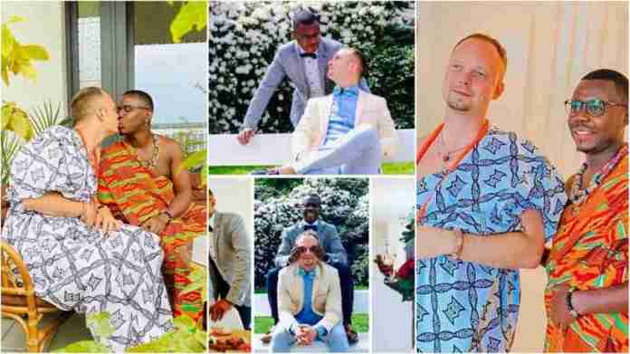 Another Ghanaian man boldly weds his gay partner in colourful Kente cloth in UK