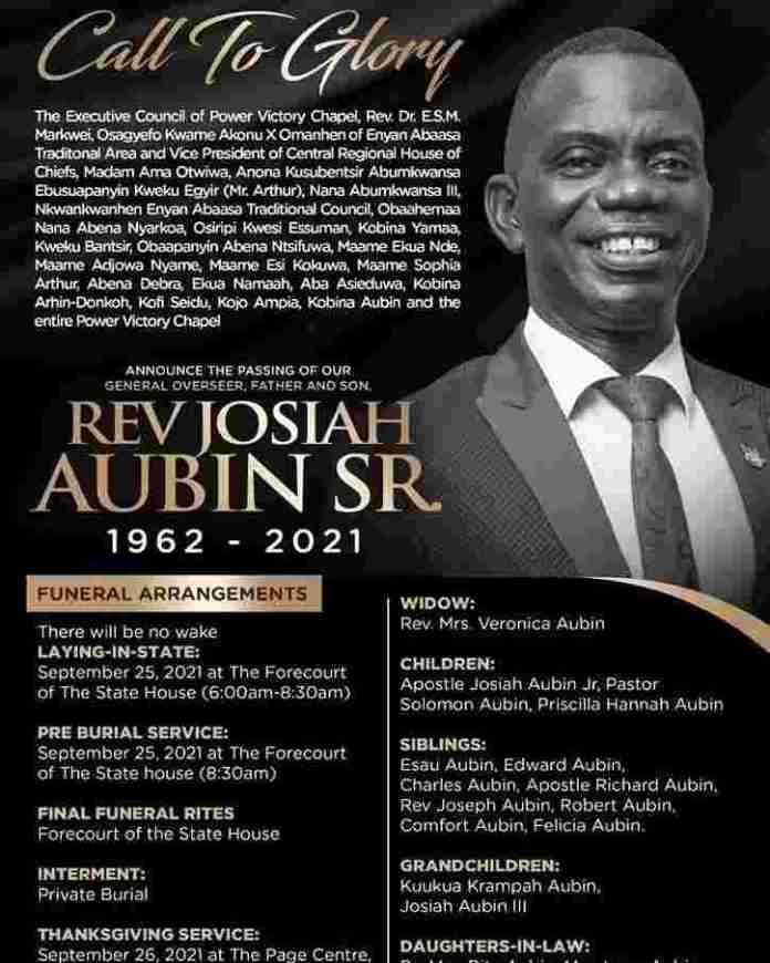 Rev Josiah Aubin Snr funeral