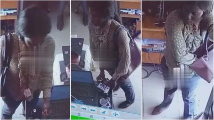 lady was caught on camera expertly stealing a phone