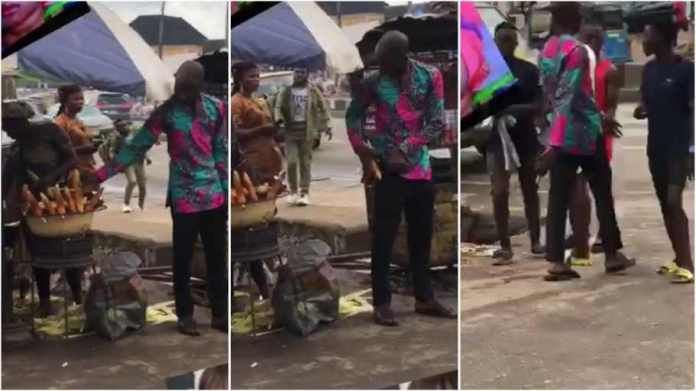 Caught on Camera: Neatly dressed man  steals hot roasted corn from the grill