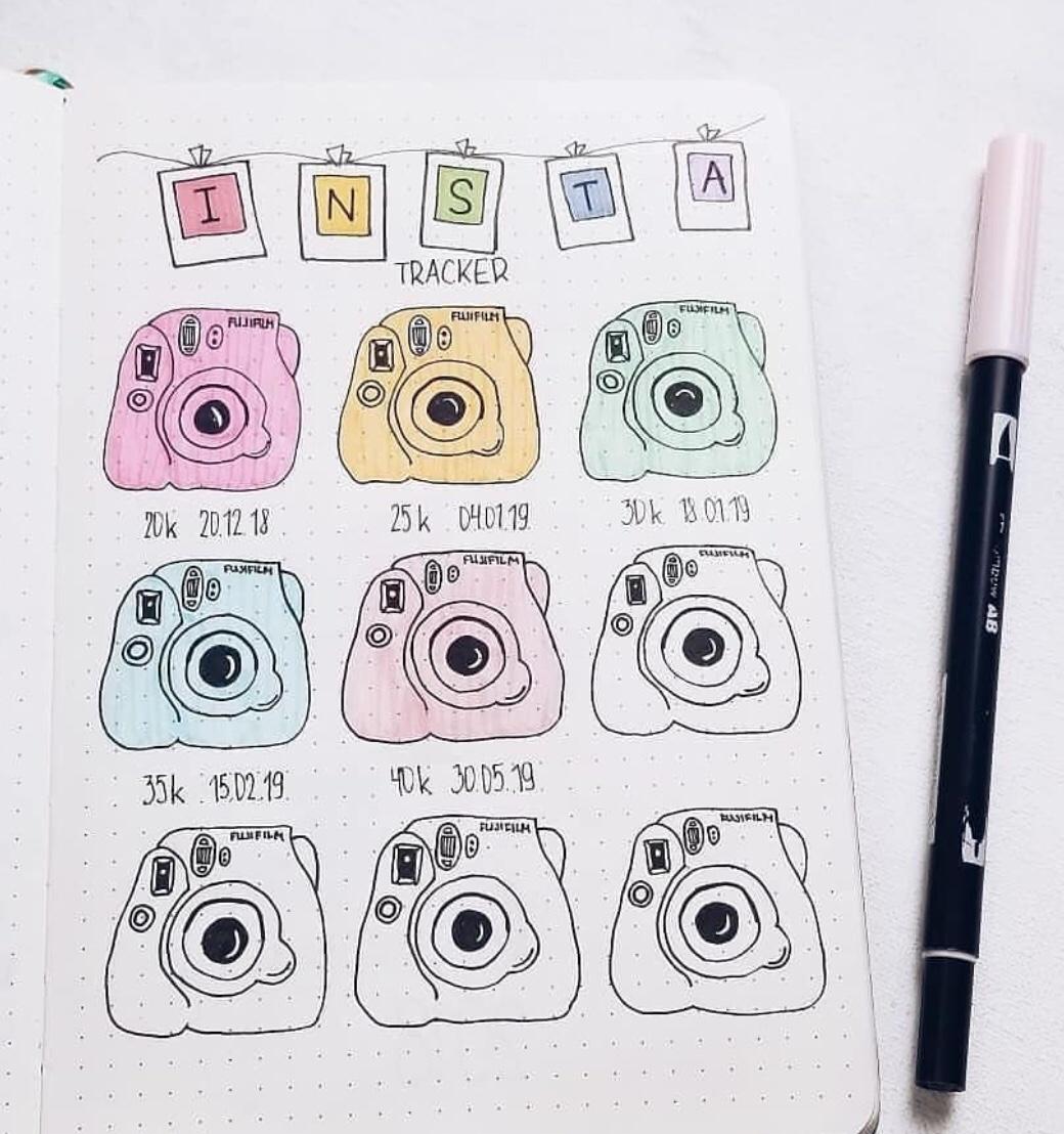 instagram tracker, goals, color polaroid
