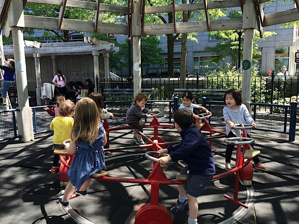 the carousel at rockefeller park