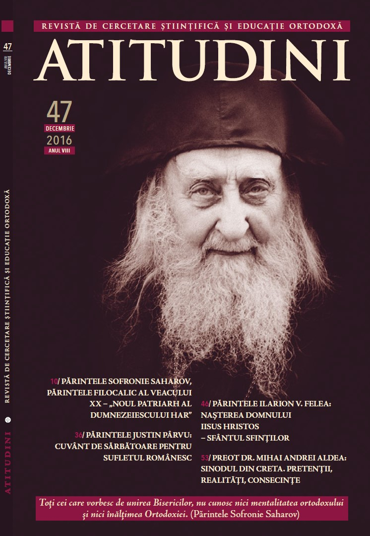 Revista Ortodoxa ATITUDINI nr. 47 coperta 1