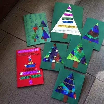 Utilize as técnicas de colagem para fazer cartões de natal