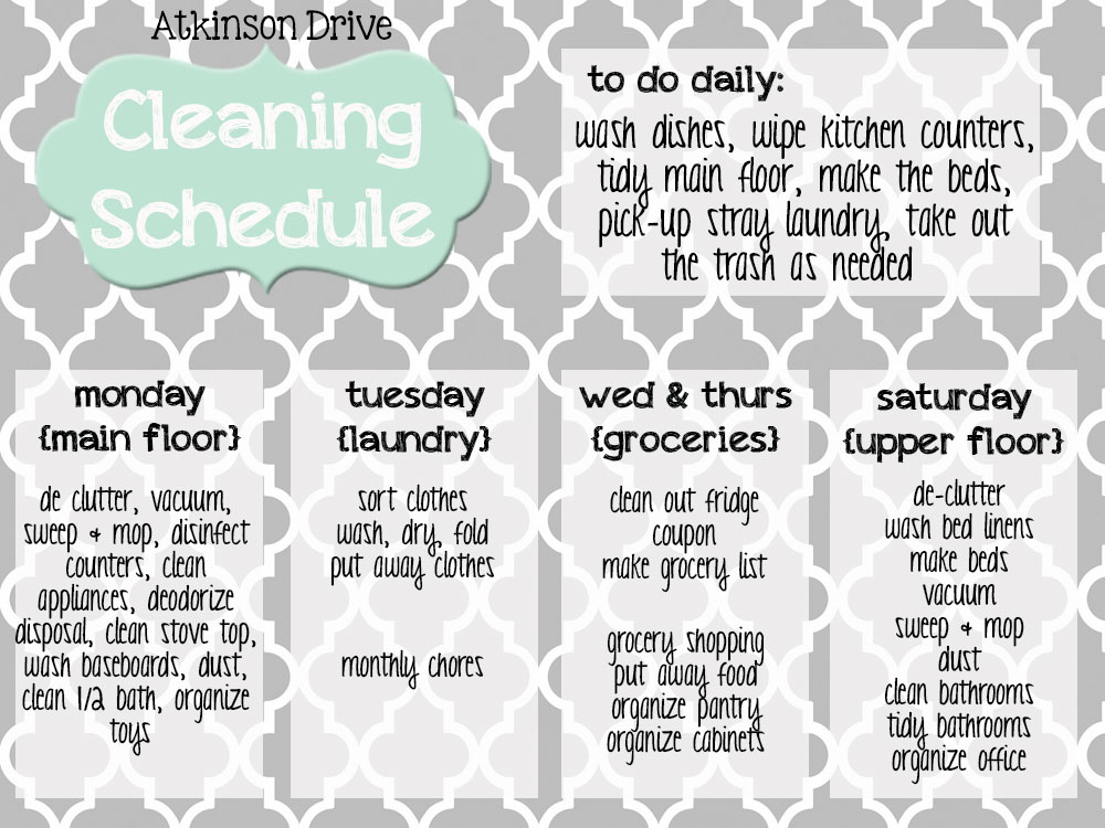 {Printable} Cleaning Schedule | Atkinson Drive