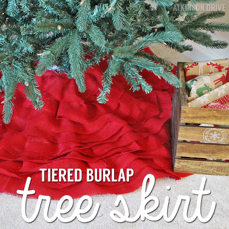 Add some rustic elegance to your holiday decorations with a DIY tiered burlap Christmas tree skirt! /// by Atkinson Drive