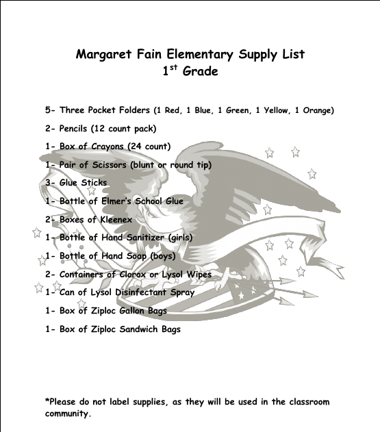 School Supply Lists / Supply Lists by Grade Level
