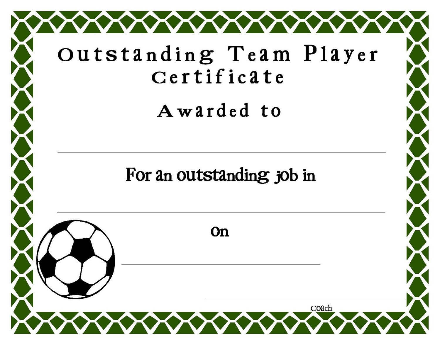 Soccer Award Certificate Templates Free
