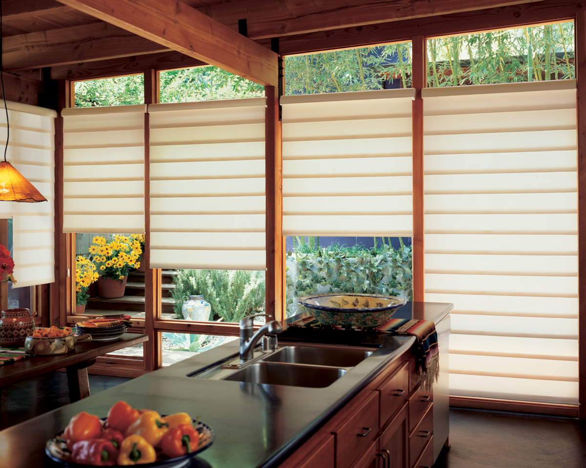 modern kitchen window treatments green egg outdoor hunter douglas vignette roman fabric shades
