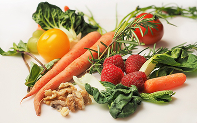 colorful fruits vegetables and nuts