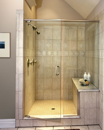 Shower door with fixednotched panel