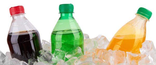 cold soda bottles on ice