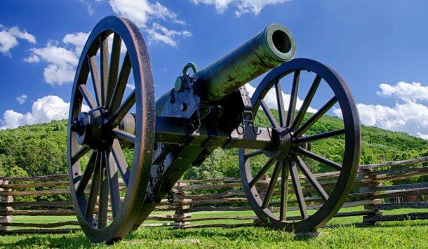 A Civil War era cannon overlooks Kennesaw Mountain National Battlefield park.
