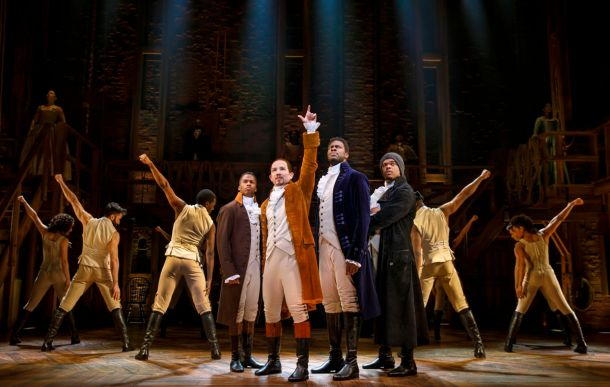 the cast of Hamilton onstage