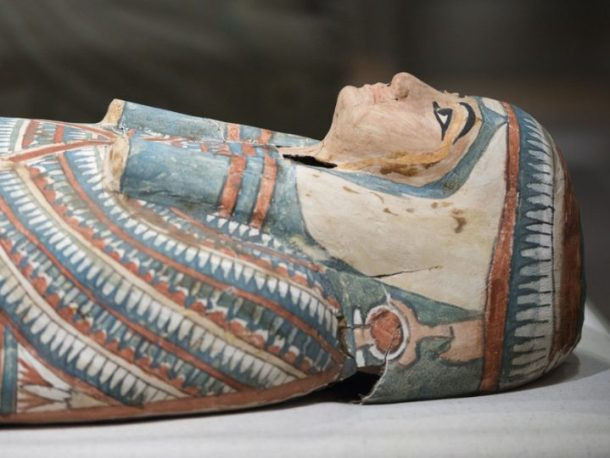 an egyptian mummy sarcophagus at the Carlos Museum in Atlanta
