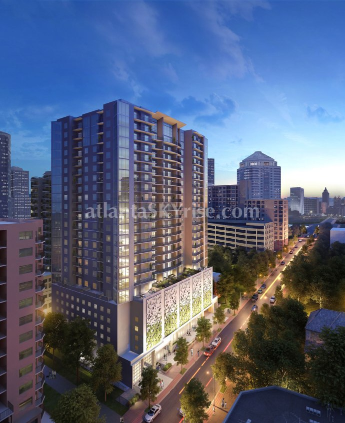 TPKG 13th Street Development - Exterior Building Rendering (Night time)
