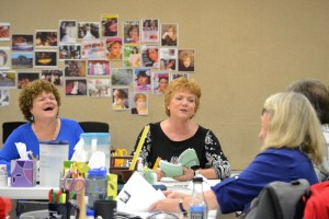 Mary Pat Gleason, Becky Ann Baker, and Judith Ivey in rehearsals for Steel Magnolias at the Alliance Theatre.  Photo by Kathleen Covington