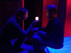 Seamus (Bob Smith) falls under Mae's (Kristin Kalbli) spell. Photo by Out of Box Theatre