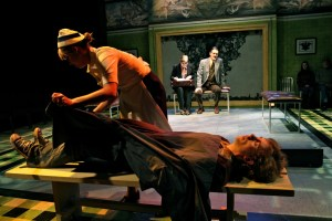Rachel Shuey (asNurse) and Kyle Brumley (as Alan Strang); Background: Kathleen Wattis (as Hesther) and Chris Kayser (Dr. Dysart) in Equus. Photo by BreeAnne Clowdus