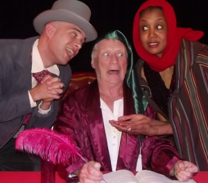 Pictured: Theo Harness (as Scrooge), Doug Graham and Keena Redding-Hunt. Photo courtesy of ART Station.
