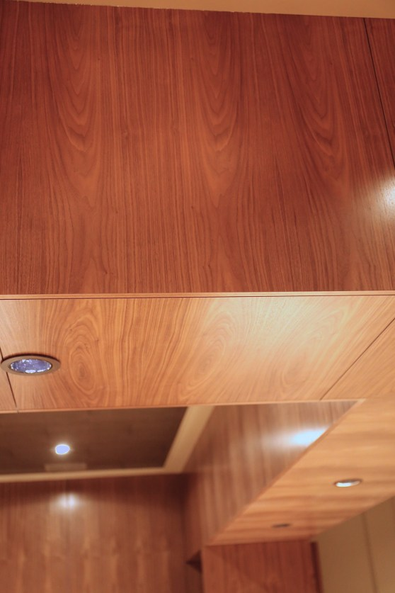 Grain matched panels on the upper soffit.