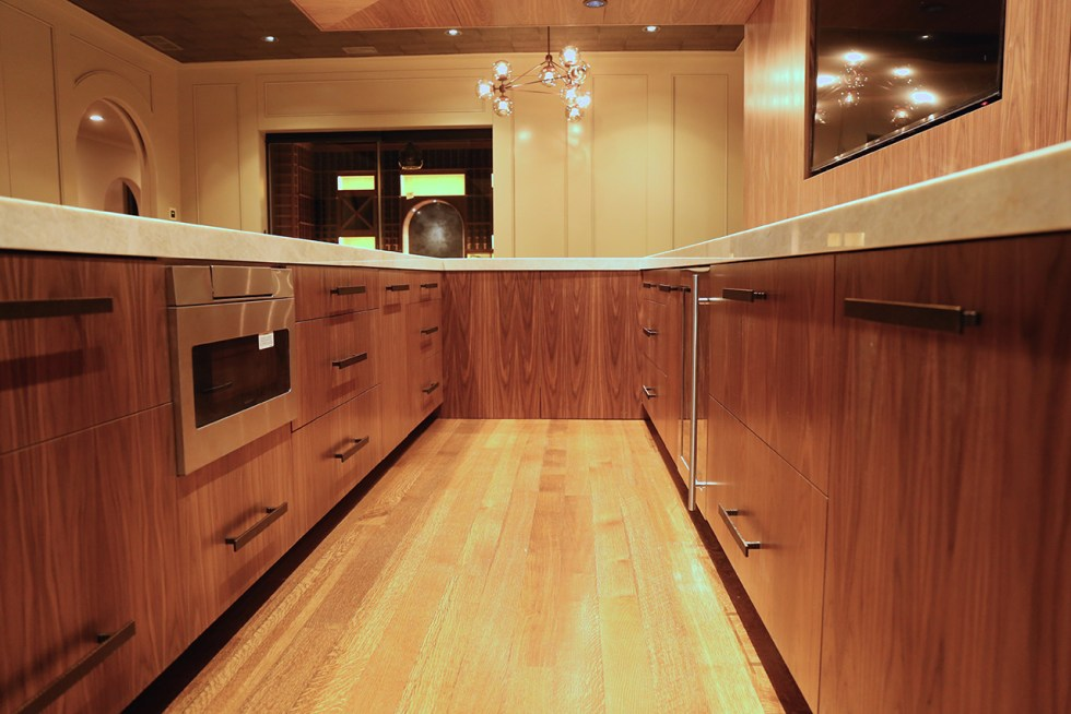 The inside of the bar – yes, we grain-match everything because that's how it should be done.