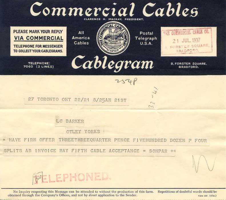 1937 cablegram
