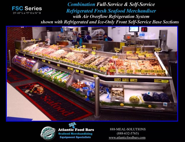 Atlantic Food Bars - 26' Seafood Case with Refrigerated and Ice-Only Self-Service Section - FSC31061-AW-CM