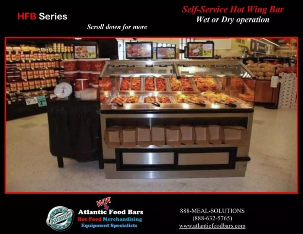 Atlantic Food Bars - Back-to-Back Self-Service Hot Wing Bar and Rotisserie Chicken Case - HFB6036F & WRGCL6037 2