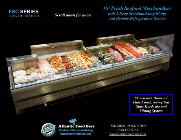 Atlantic Food Bars - Fresh Seafood Merchandiser with Swing Out Glass, Deep Wings, and Misting System - FSC19554 1