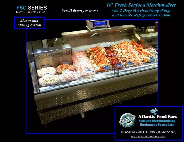 Atlantic Food Bars - Fresh Seafood Merchandiser with Swing Out Glass, Deep Wings, and Misting System - FSC19554 2