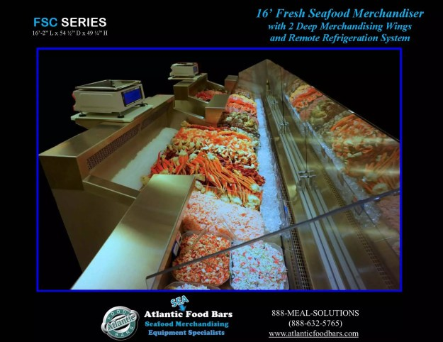 Atlantic Food Bars - Fresh Seafood Merchandiser with Swing Out Glass, Deep Wings, and Misting System - FSC19554 3