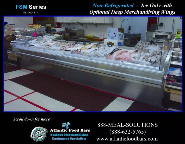 Atlantic Food Bars - Non-Refrigerated Ice-Only Seafood Case with Deep Merchandising Wings - FSM19261 2