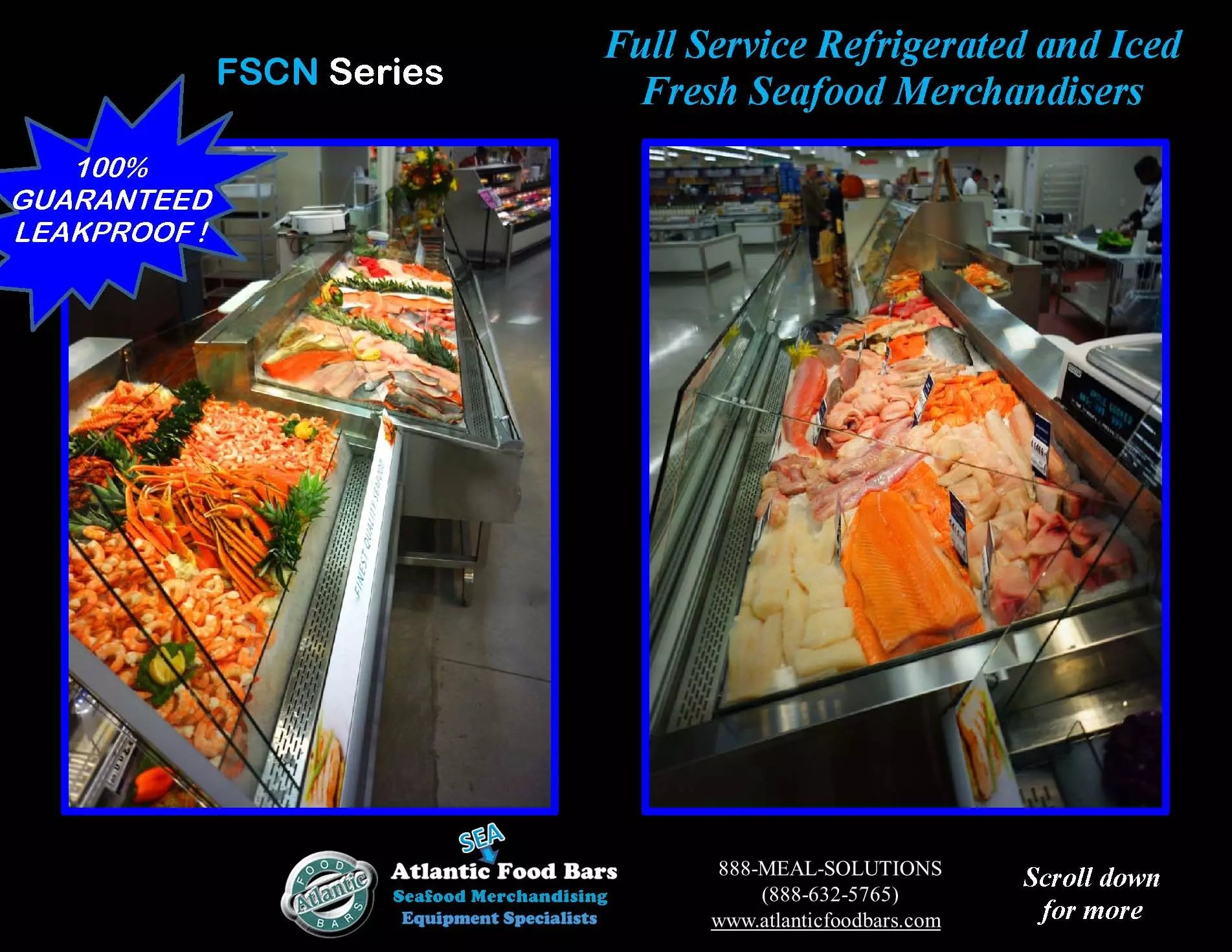 Atlantic food bars 4 39 and 8 39 refrigerated seafood lineup for Food bar 8 0