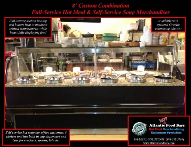 Atlantic Food Bars - 8' Custom Combination Full-Service Hot Meal with Self-Service Soup Bar