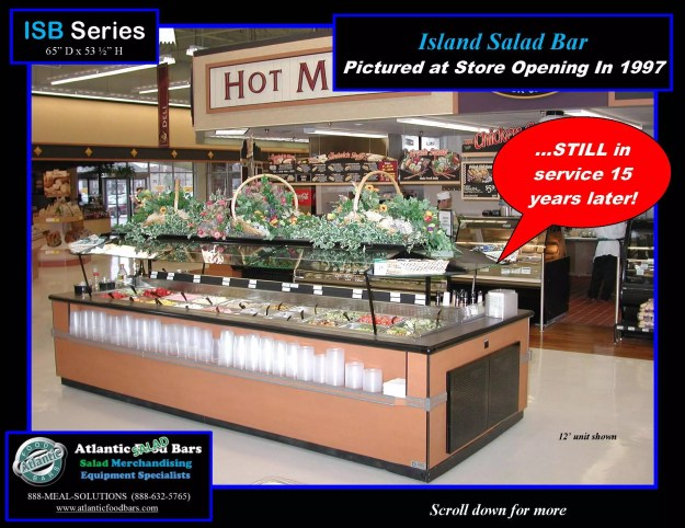 Atlantic Food Bars - The 15 Year Club - ISB14863 Refrigerated Island Salad Bar - STILL IN SERVICE! 1