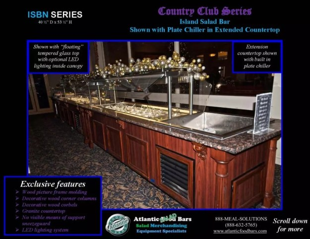 Atlantic Food Bars - Country Club Series Narrow Salad Bar with Plate Chiller - ISBN11837 1
