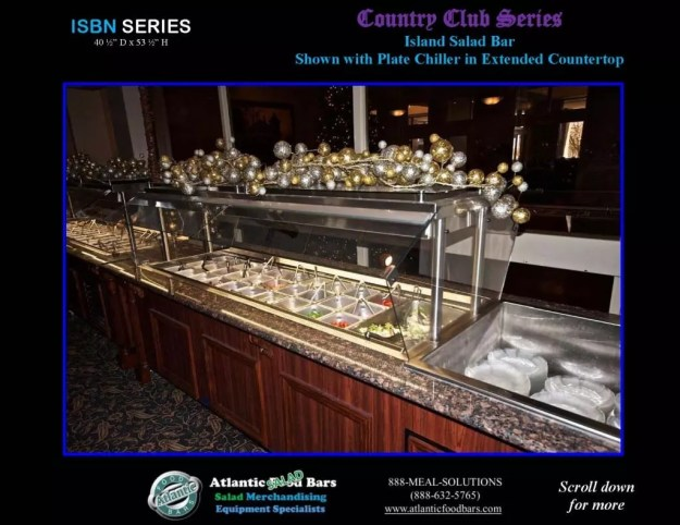 Atlantic Food Bars - Country Club Series Narrow Salad Bar with Plate Chiller - ISBN11837 2