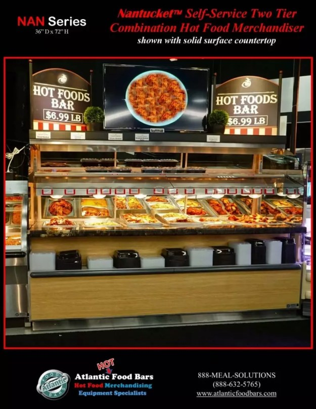 Atlantic Food Bars - Nantucket Self-Service Two Tier Combination Hot Food Merchandiser with solid surface countertop - NAN9636 1