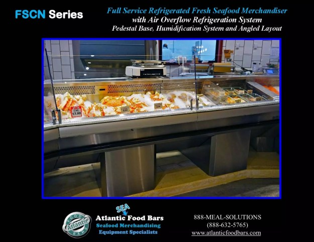 Atlantic Food Bars - Seafood Case Angled Lineup with Pedestals - FSCN192-P-HS-W and FSCN144-P-HS-W 3