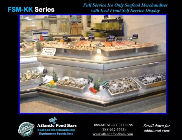 Atlantic Food Bars - Seafood Case Lineup with Front Knee Knocker and Angles - FSM-KK-P-HS-W 3